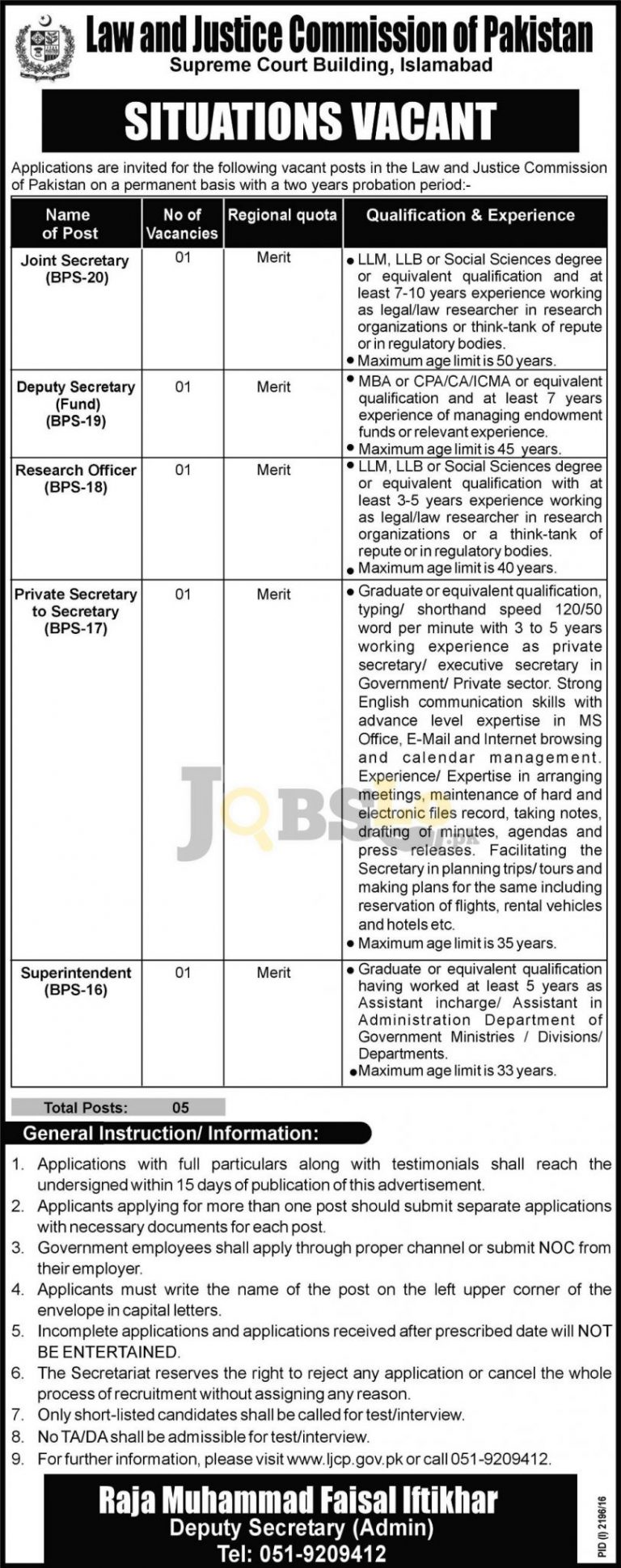 Law & Justice Commission of Pakistan Islamabad Jobs 2016 For Joint Secretary