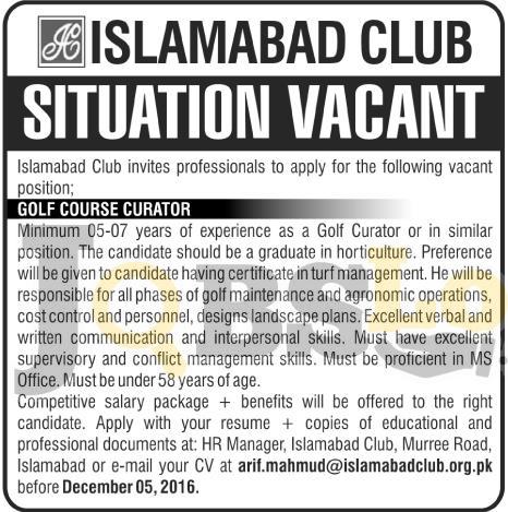 Islamabad Club Jobs 2016 For Golf Course Curator Eligibility Criteria