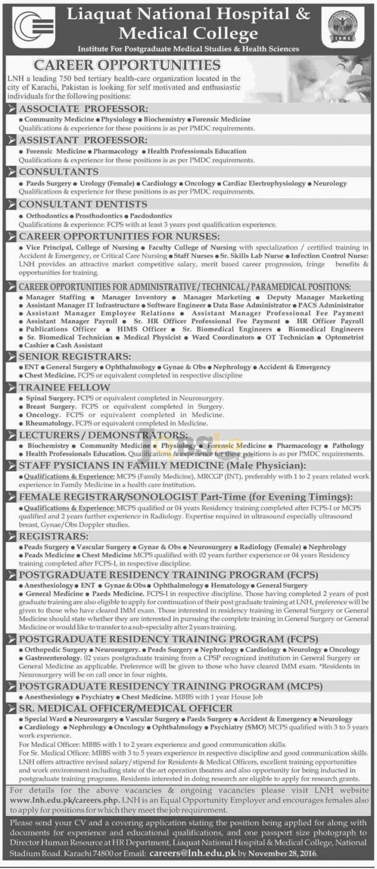Liaquat National Hospital & Medical College Karachi Jobs 2016 Staff Required Latest Add