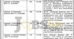 Govt Fatima Jinnah College Chuna Mandi Lahore Jobs