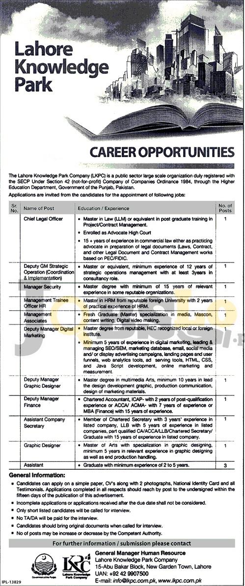 LKPC Lahore Jobs