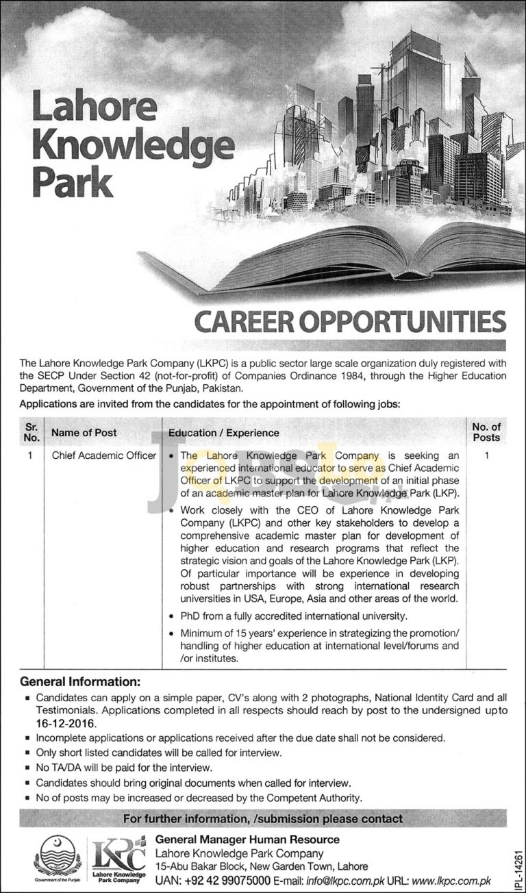 Lahore Knowledge Park Company Jobs 2016 Latest Employment Offers