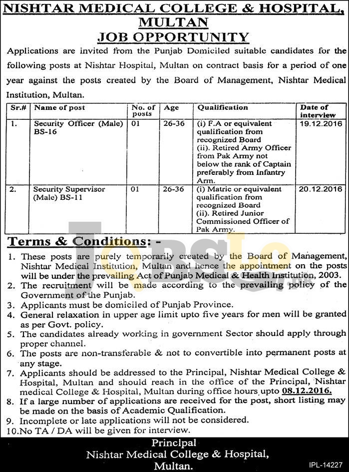 Nishtar Medical College & Hospital Multan Jobs 2016 For BS-16 & BS-11