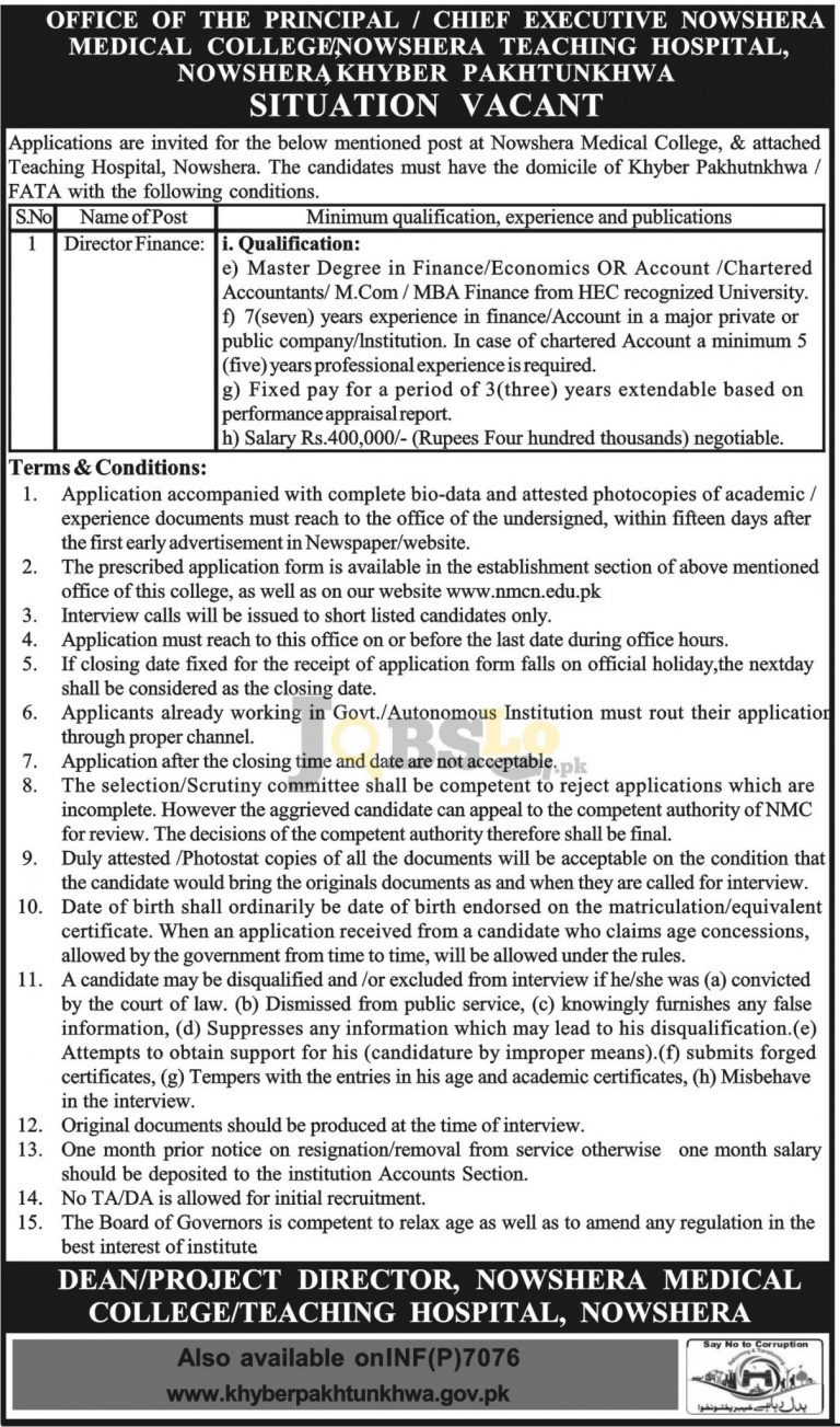 Nowshera Medical College Jobs 2016 Online Application Form Download