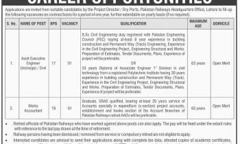 Pakistan Railways Lahore Jobs 2016 For Works Accountant BS-16