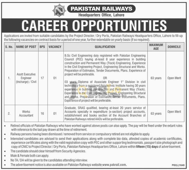 Pakistan Railways Lahore Jobs 2016 For Works Accountant BS-16