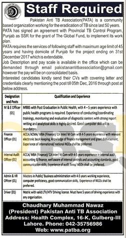 Pakistan Anti TB Association Lahore Jobs 2016 Current Employment Offers