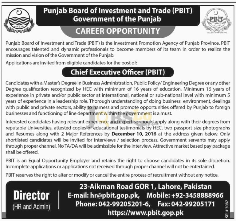 CEO Jobs 2016 in Punjab Board of Investment & Trade Latest Add