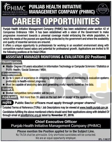 Punjab Health Initiative Management Company Jobs 2016 Nov Advertisement