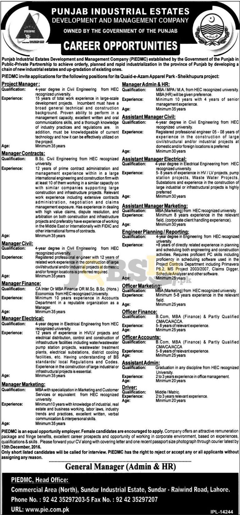 Punjab Industrial Estate Development & Management Company Jobs 2016 Latest Add