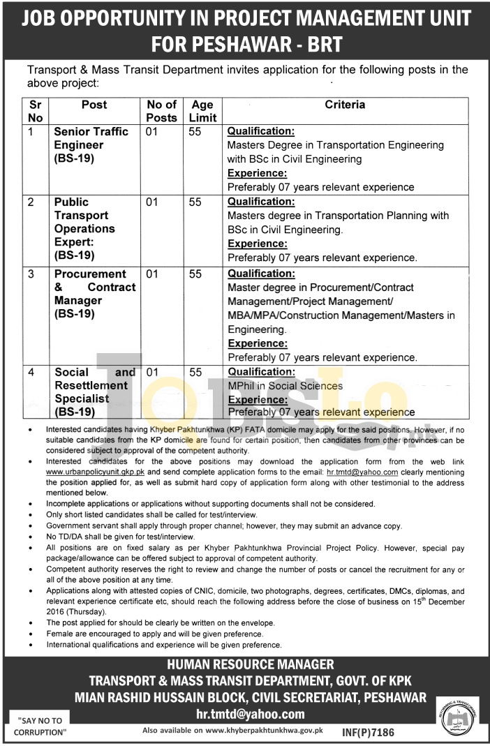 Transport & Mass Transit Department Peshawar Jobs