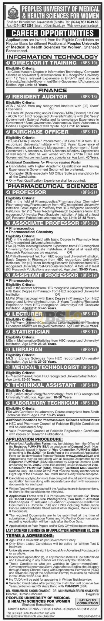 Peoples University of Medical & Health Sciences For Women Shaheed Benazirabad Jobs 2016 Latest
