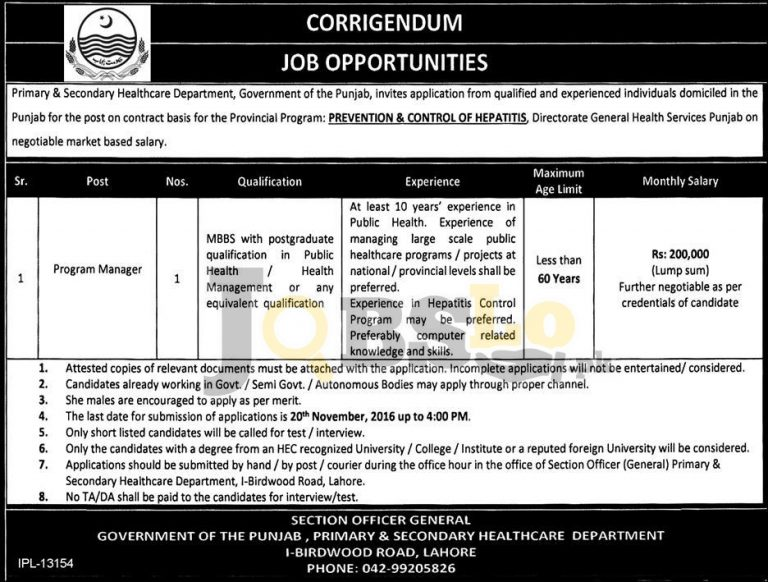 Program Manager Jobs 2016 in Primary & Secondary Healthcare Department Punjab