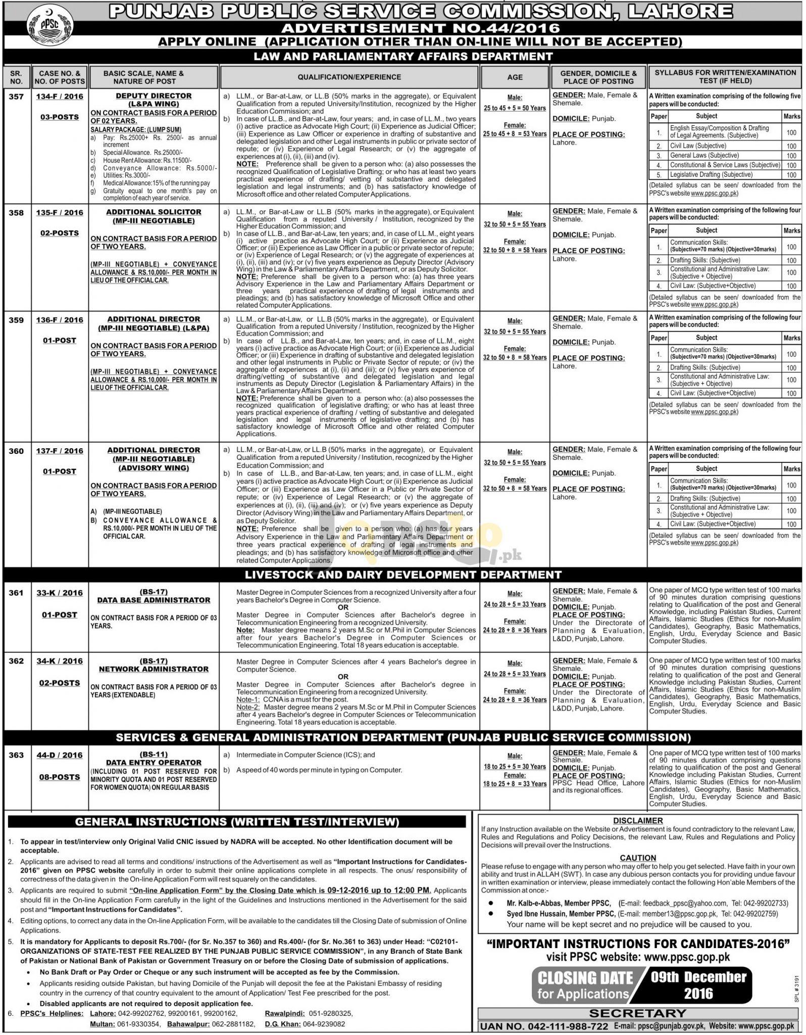 PPSC Data Entry Jobs 2016 Apply Online Latest Add ppsc.gop.pk