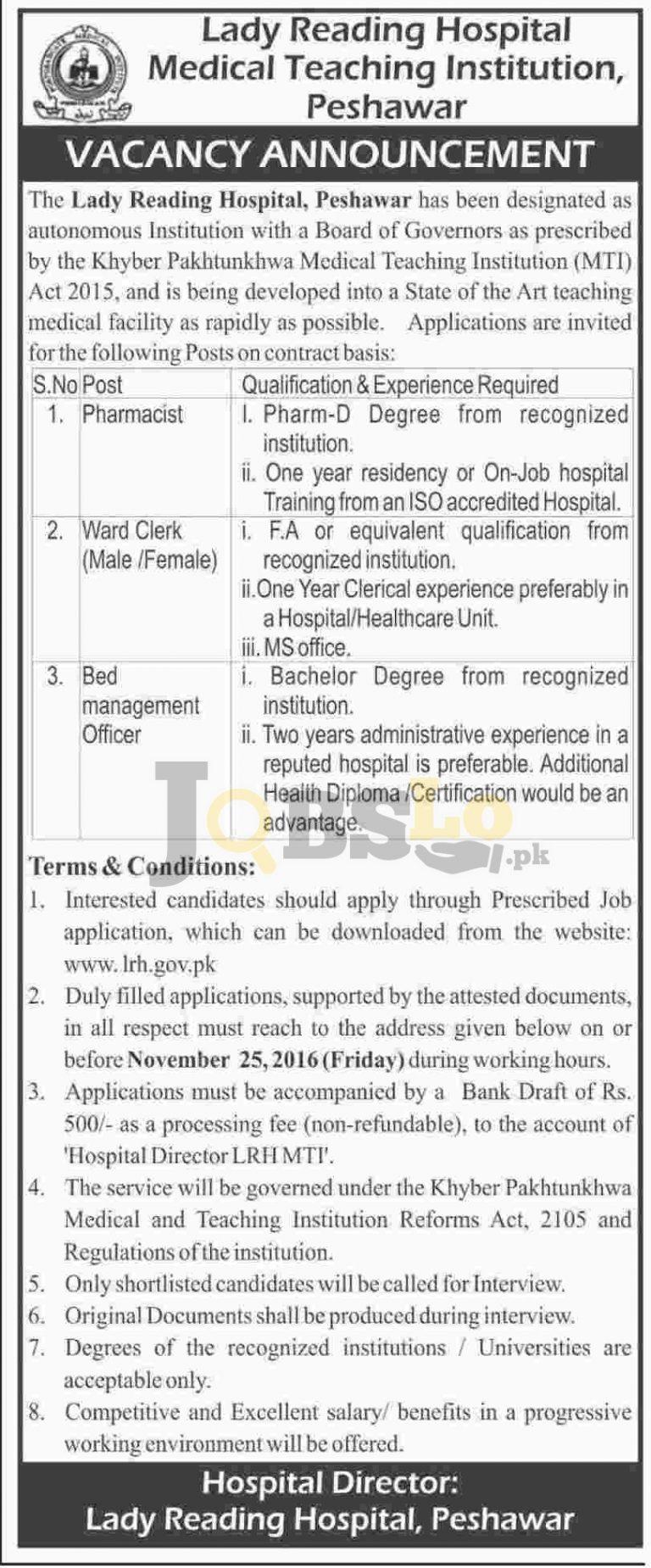 Lady Reading Hospital LRH Peshawar Jobs 2016 Online Form Download