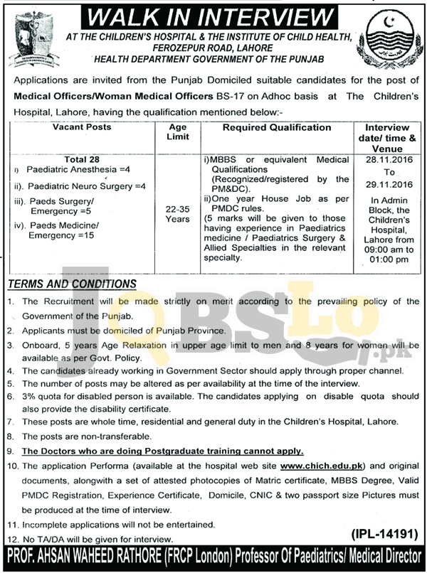Children Hospital & The Institute of Child Health Lahore Jobs 2016 Govt of Punjab