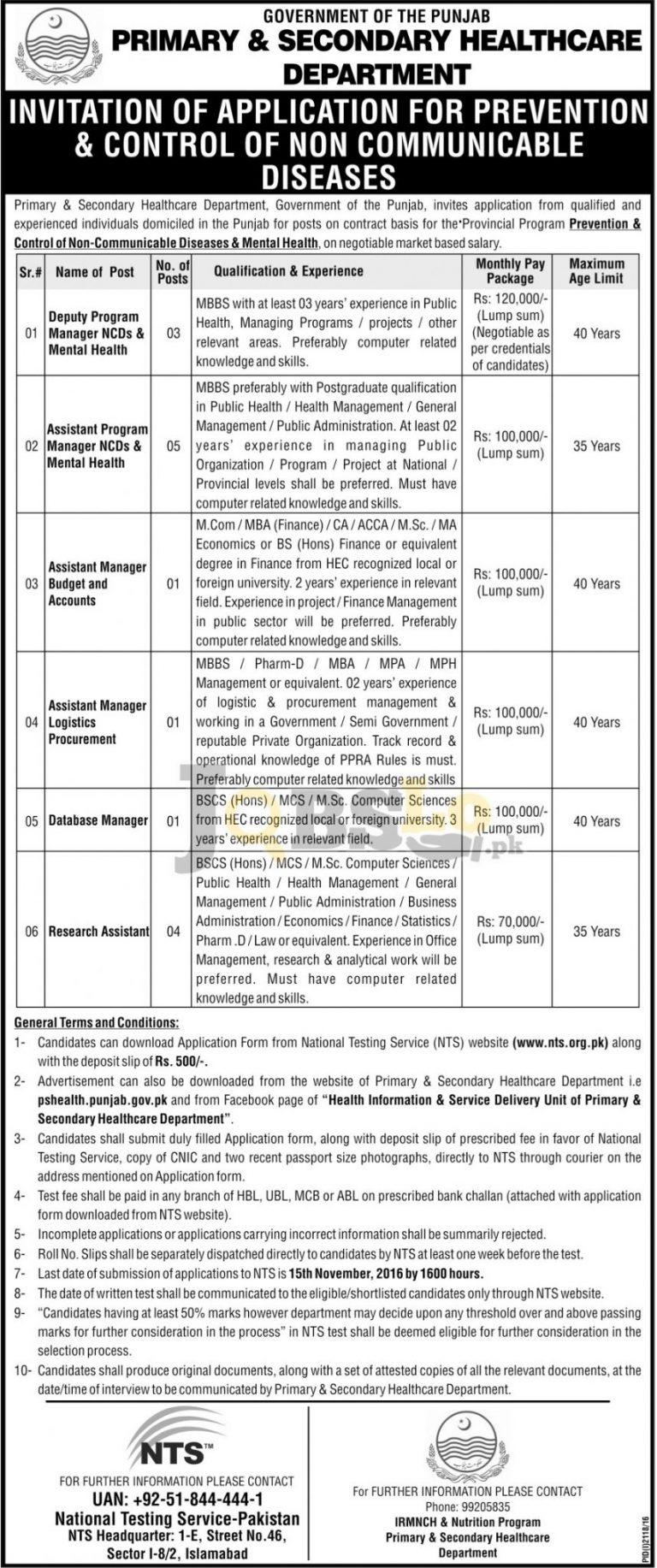 Healthcare Department Punjab Jobs 2016 NTS Online Form Download