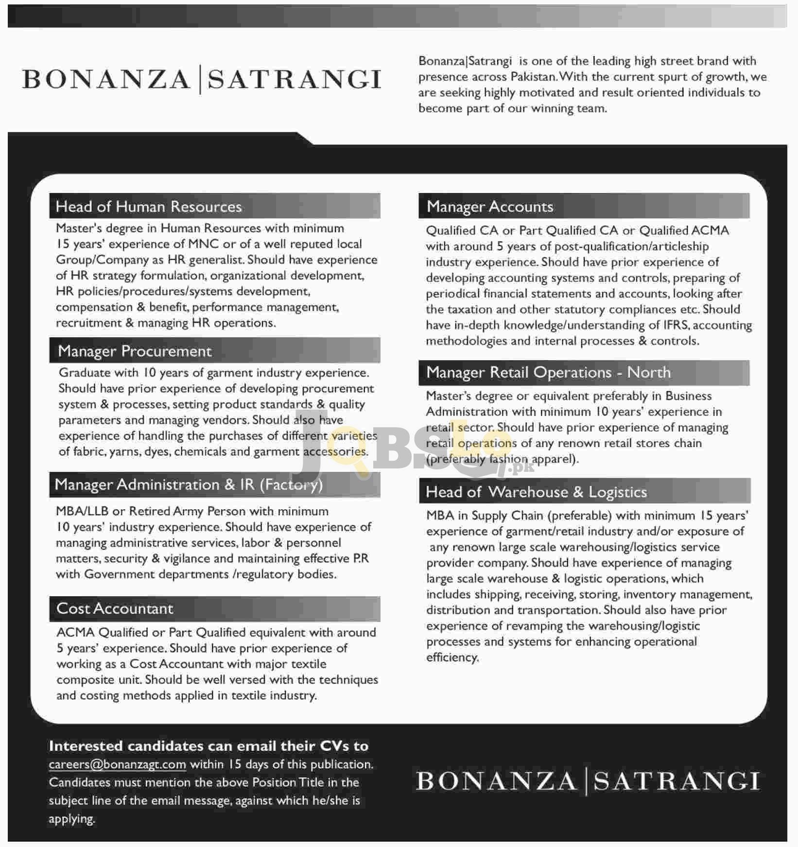 Bonanza Jobs