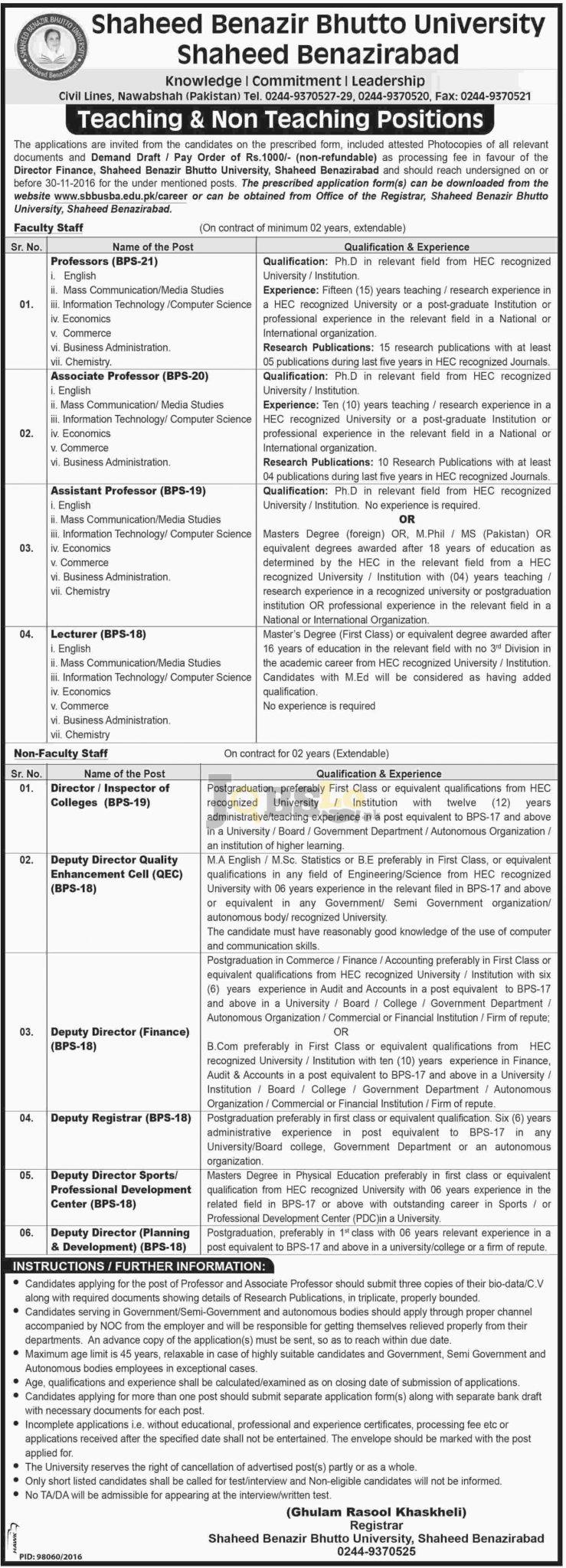 Shaheed Benazir Bhutto University SBBU Benazirabad Jobs 2016 Latest Add