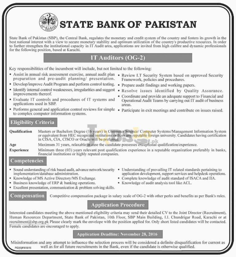 IT Auditors Jobs in State Bank of Pakistan Karachi 2016 Nov Advertisement