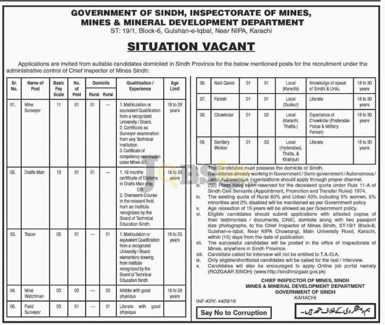 Mines and Mineral Development Department Sindh Jobs 2016 Apply Online sindhrozgaar.gos.pk