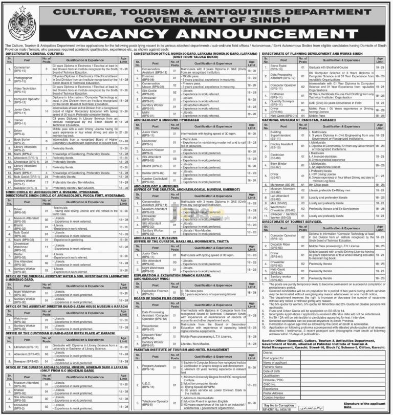 Culture Tourism & Antiquities Department Govt of Sindh Jobs 2016 Latest Add