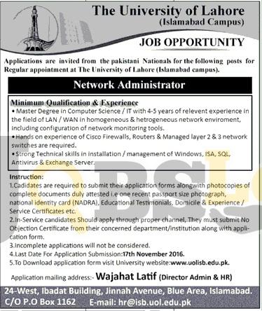 University of Lahore Islamabad Campus Jobs 2016 Online Form uolisb.edu.pk