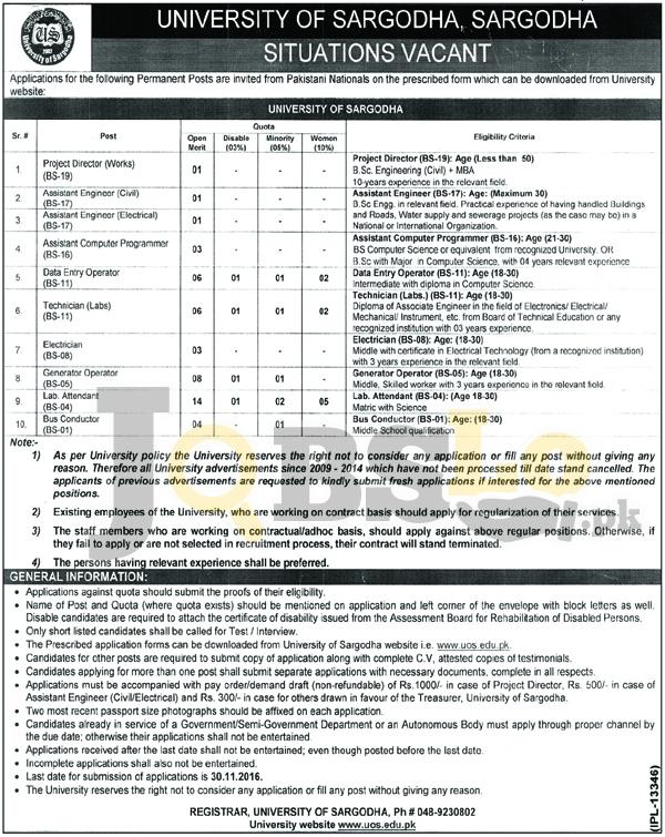 UOS University of Sargodha Jobs Nov 2016 For BPS-01 to BPS-19 Advertisement