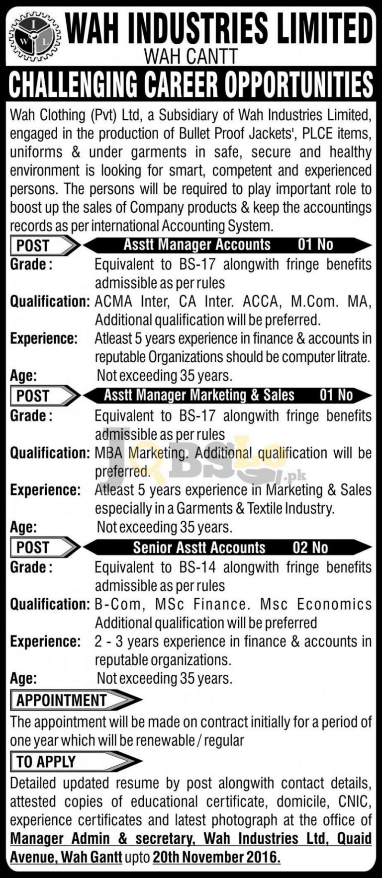 Wah Industries Limited Wah Cantt Jobs Nov 2016 Current Career Opportunities