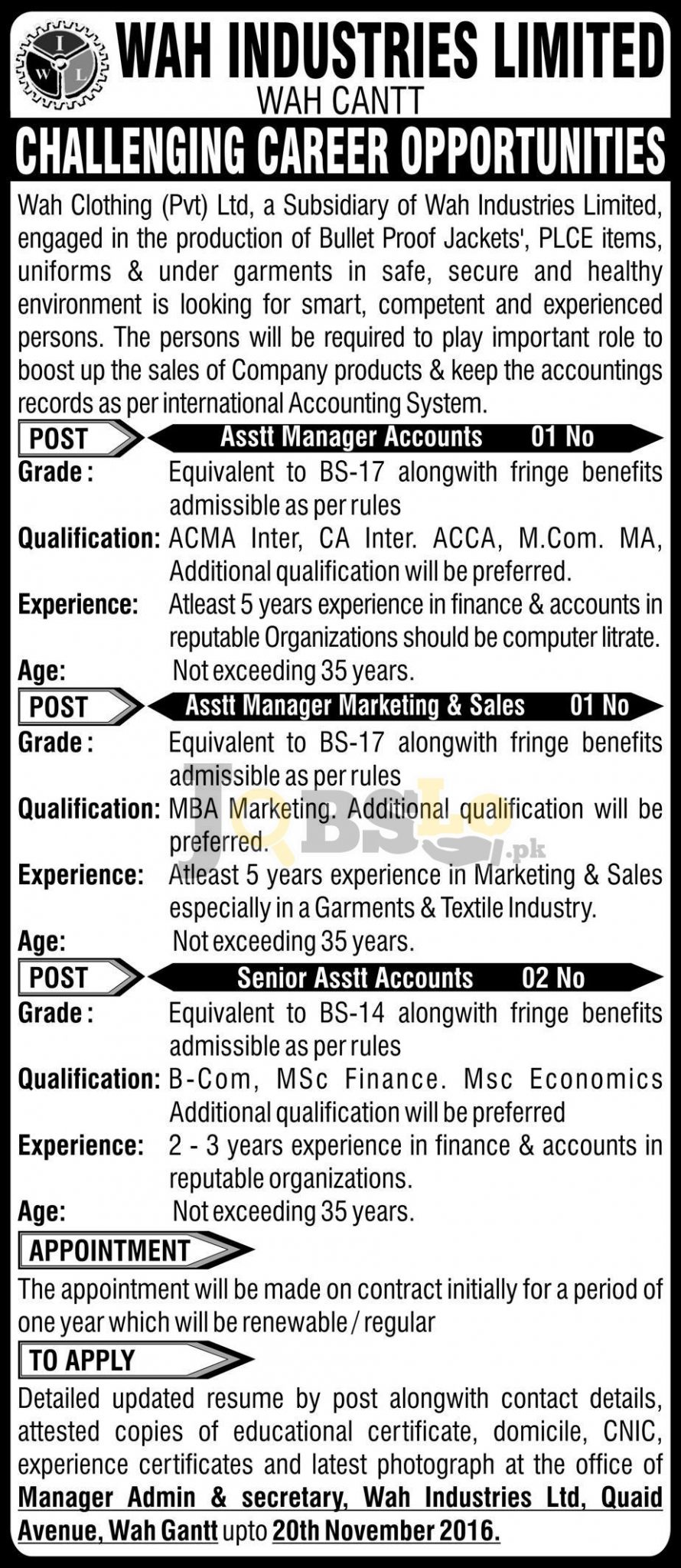 Wah Industries Limited Jobs