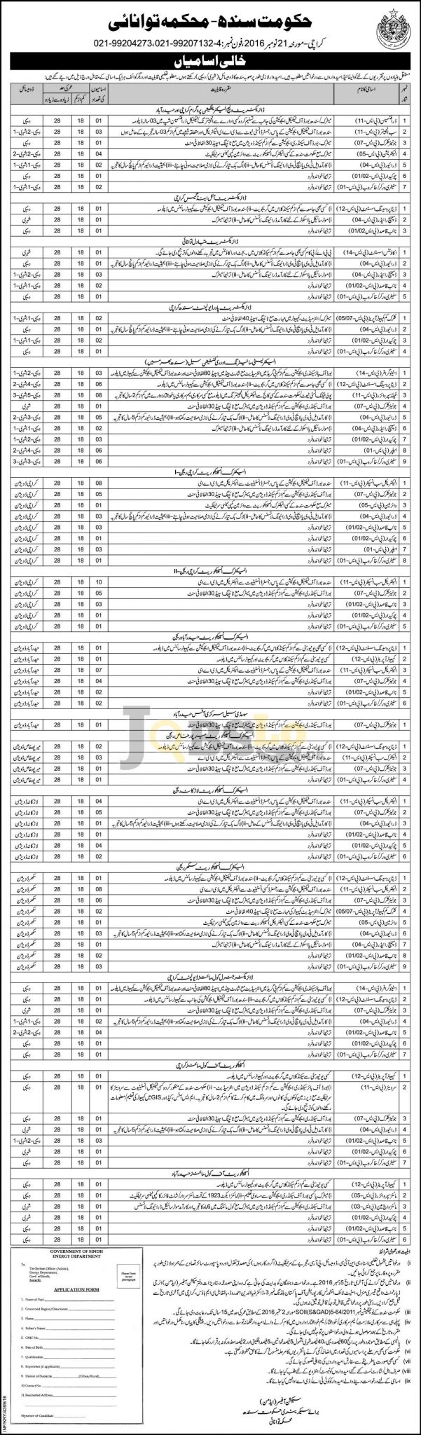 Energy Department Sindh Jobs 2016 For Draftsman Sub Engineer Latest Add