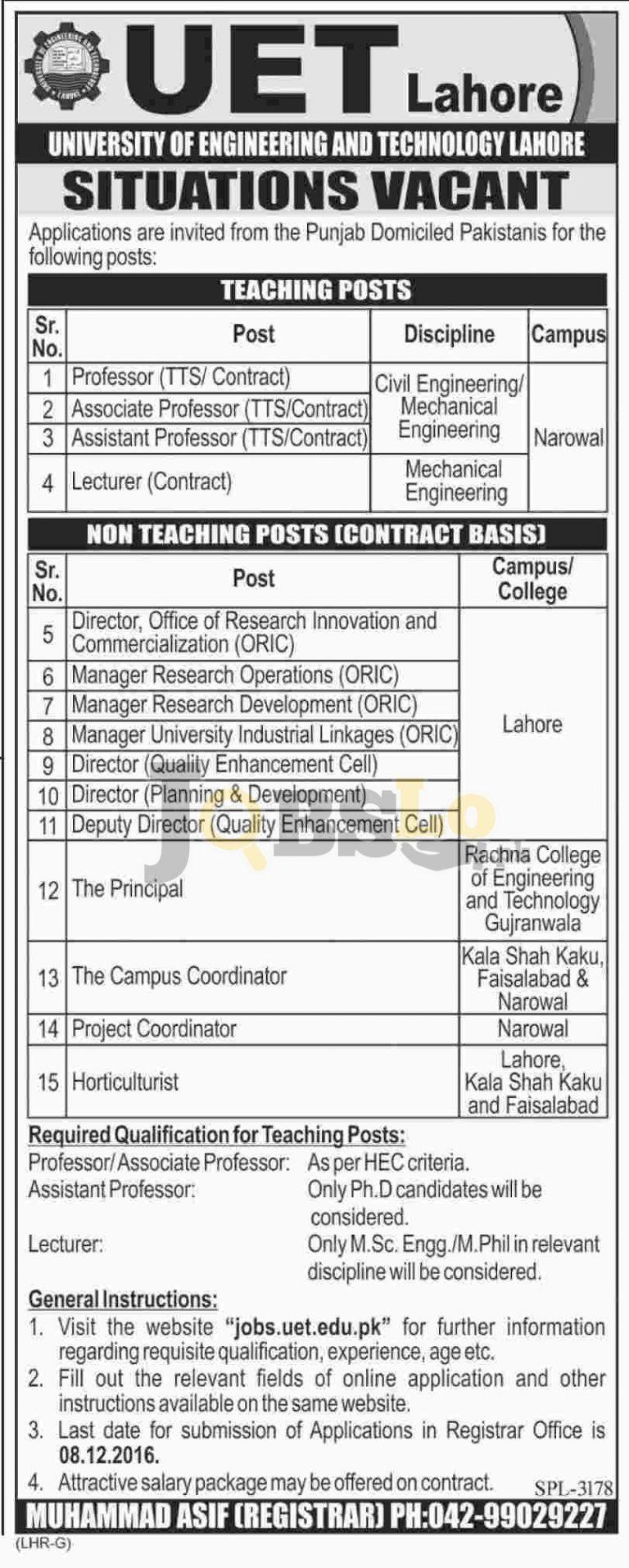 UET Lahore Jobs 2016 University of Engineering & Technology Online Form uet.edu.pk