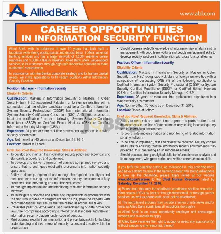 ABL Bank Jobs 2016 in Lahore Apply Online Latest Advertisement