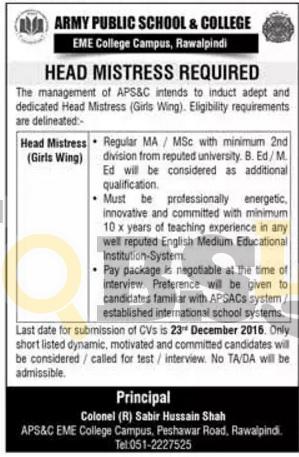 Army Public School & EME College Rawalpindi 2016 Current Opportunities