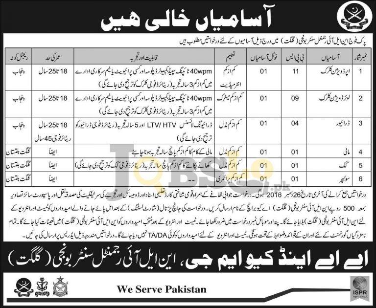 Pakistan Army NLI Regimental Centre Gilgit Jobs 2016 For UDC, LDC, Driver Latest