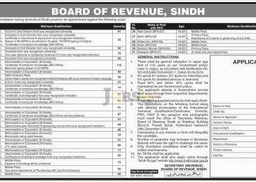 Board of Revenue Sindh Jobs 2016 Apply Online Sindh Rozgar Latest Advertisement