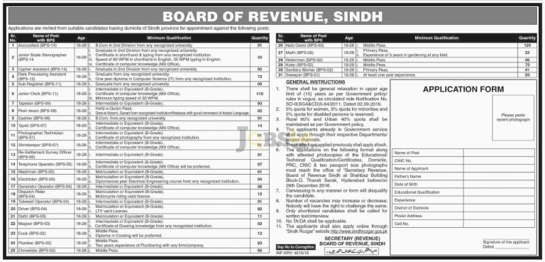 Board of Revenue Sindh Jobs 2016 Apply Online Sindh Rozgar Latest Advertisement