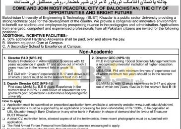 Balochistan University of Engineering & Technology Khuzdar Jobs 2016 Application Form Download