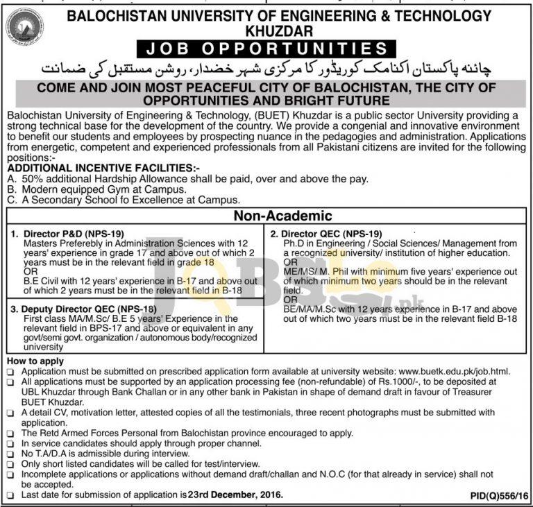 Balochistan University of Engineering & Technology Khuzdar Jobs 2016 Application Form Download