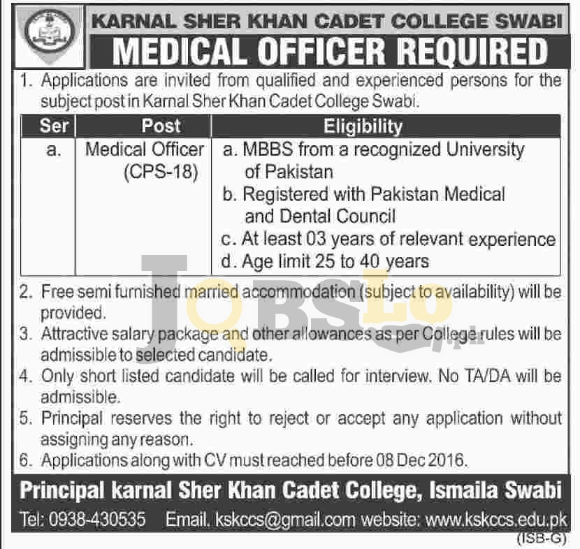 Karnal Sher Shah Khan Cadet College Swabi Jobs