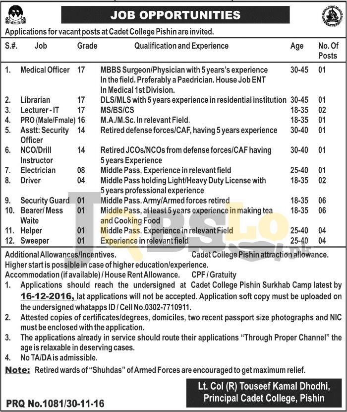 Cadet College Pishin Jobs 2016 For BPS-17 To BPS-01 Latest Add