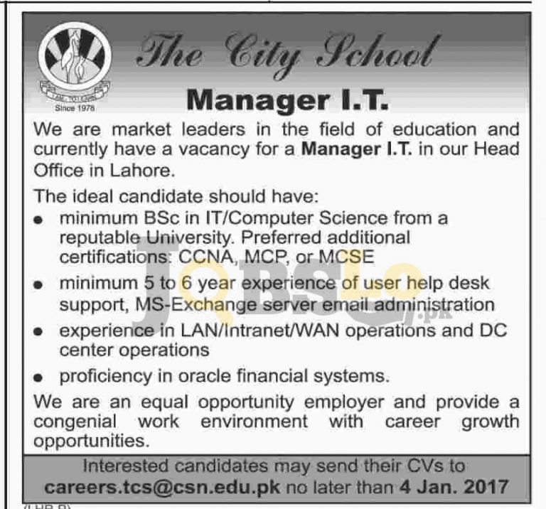 City School Lahore Jobs 2017 For Manager IT Current Openings