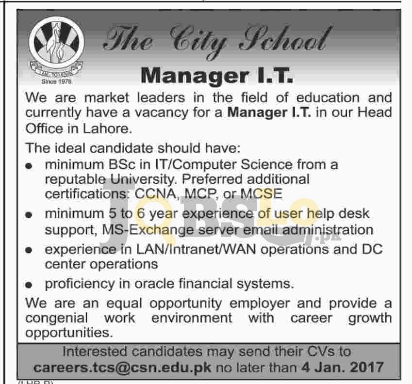 The City School Lahore Jobs
