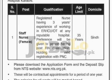 SMBB Trauma Centre Karachi Jobs 2016 NTS Online Form Download nts.org.pk