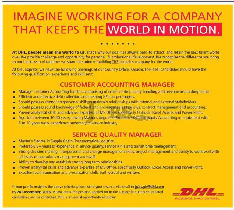 DHL Express Karachi Jobs Dec 2016 For Customer Accounting Manager