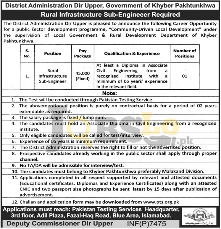 District Administration Dir Upper Jobs