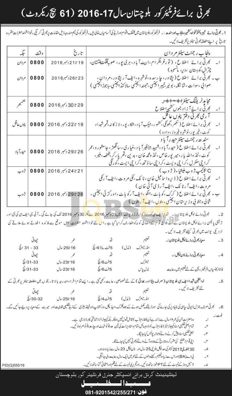 FC Balochistan Jobs 2016 For Batch 61 Career Opportunities