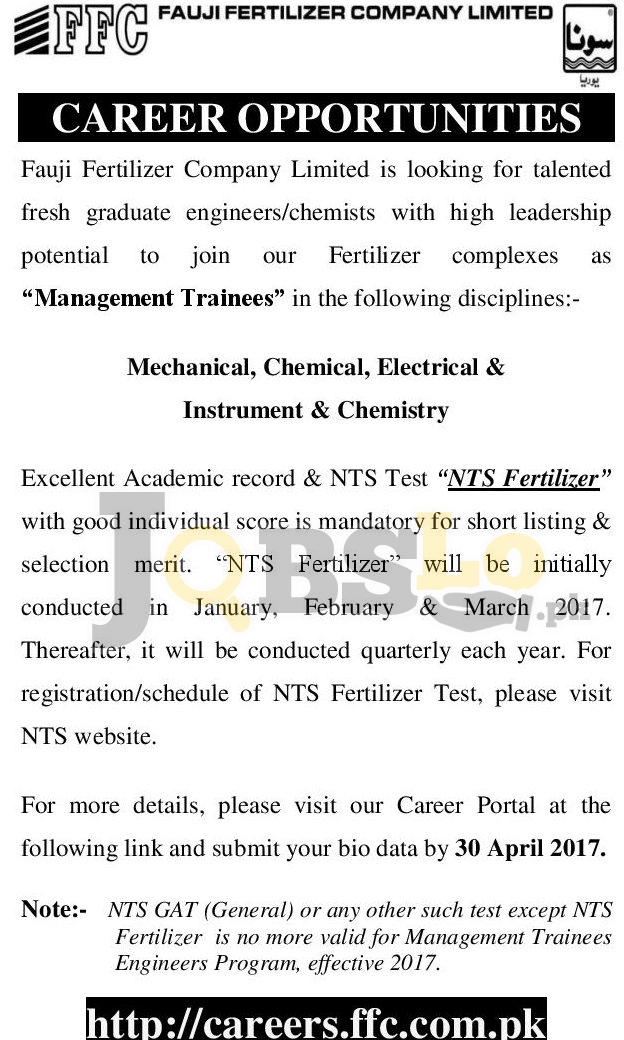 Fauji Fertilizer Company Jobs 2016 NTS Online Registration Latest