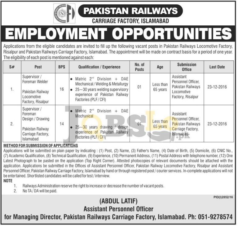 Pakistan Railways Carriage Factory Islamabad Jobs 2016 for BPS-16 & BPS-14