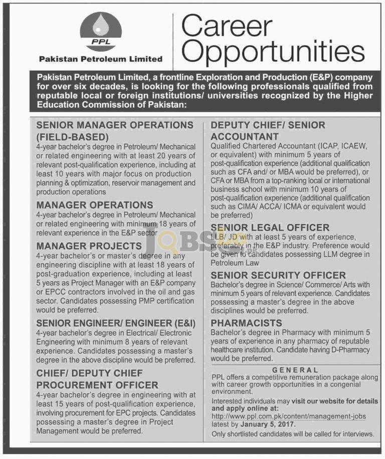 Jobs in Pakistan Petroleum Limited – PPL 2017 Apply Online